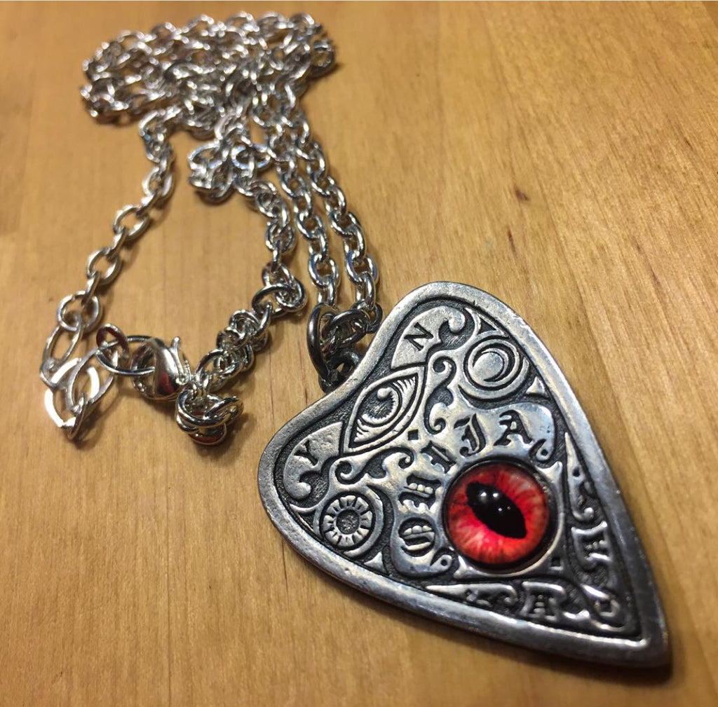 Pewter Ouija Red Eye Pendant on chain