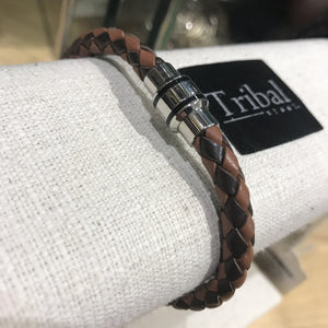 Bracelet: Leather Crosshatch