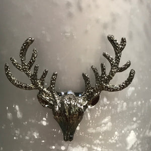 Matt Silver  Votive Candle Holder with Stag Decal