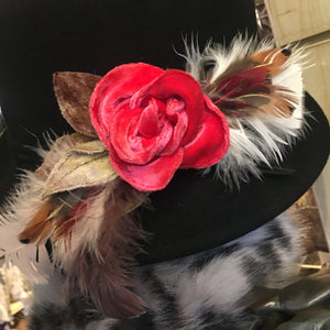 Velvet Flora Brooch Salmon Pink Rose and Feathers