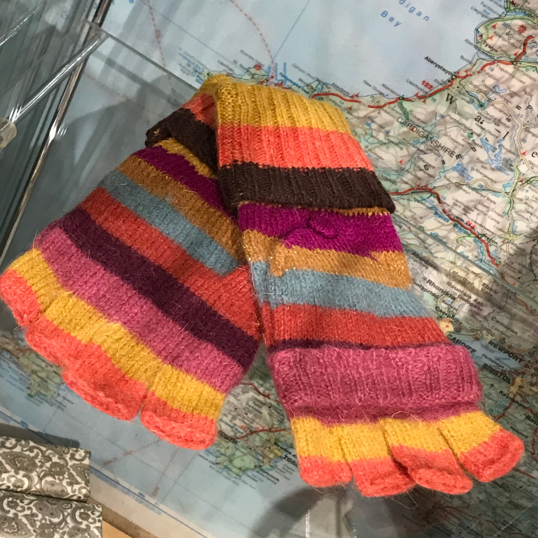 Wooly Striped Fingerless Gloves