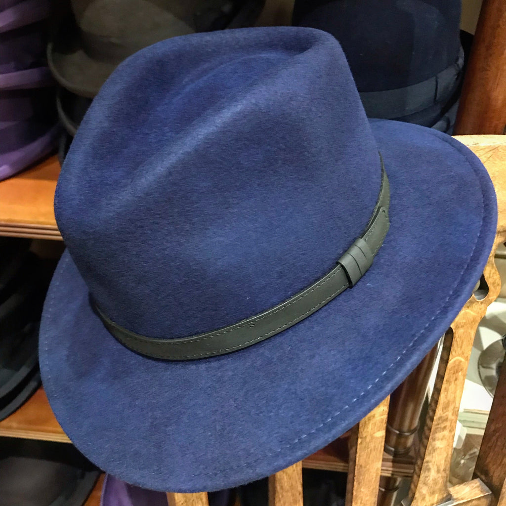 Navy wool fedora