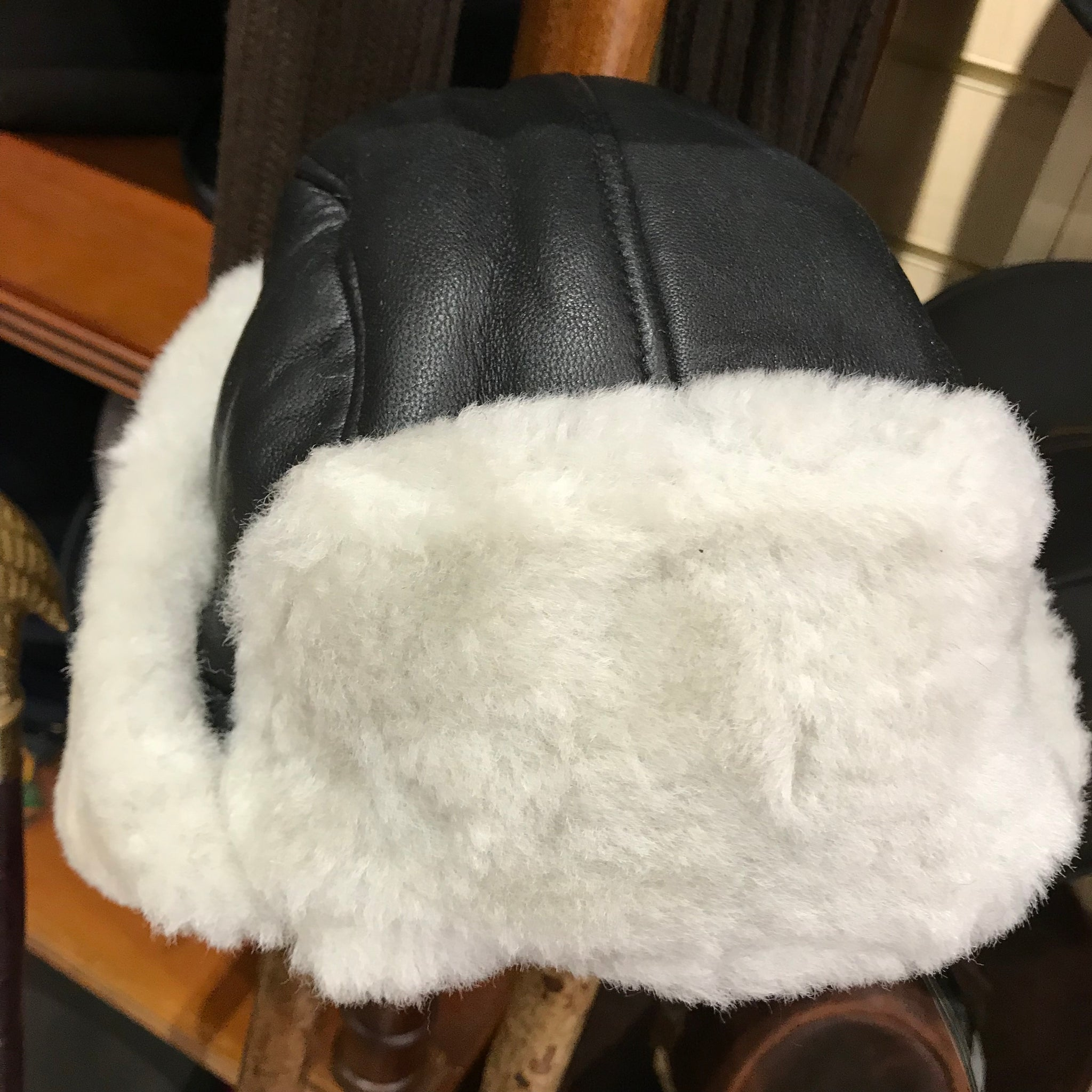 Leather trapper pilot style hat