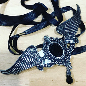 Raven skull and wings necklace