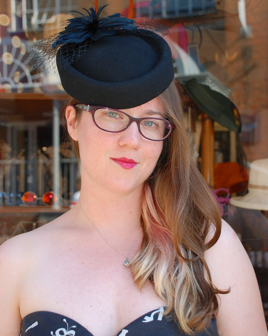 Pill Box Hat - Black with veil and feathers