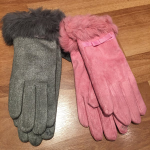 Suedette Gloves with Real Fur Trim