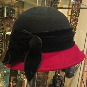 Two Tone Wool Cloche Hat with Velvet Band