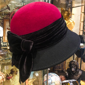 2 Tone Wool Cloche Hat with Velvet Band.