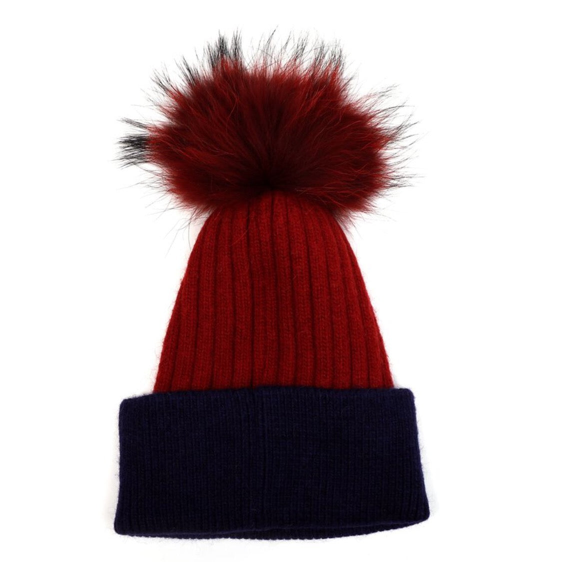 Beanie Hat with Fur Pom Pom