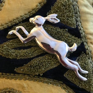 Pewter leaping hare brooch