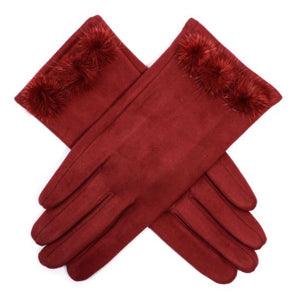 Suedette Gloves with 3 Pom Poms