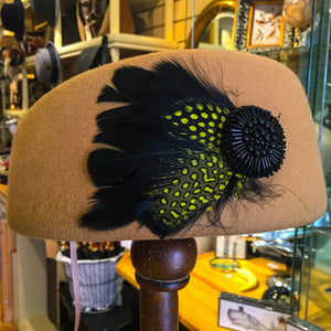 Pillbox Hat with Feathers