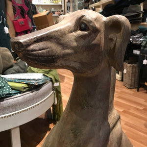 Sitting Lurcher Dog Statue