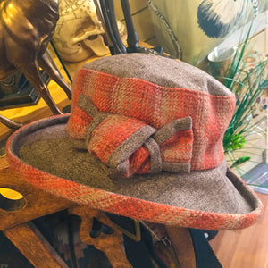 Checked Cloche Hat with Boned Brim and Ribbon