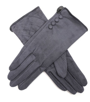 Suedette Gloves with Four buttons