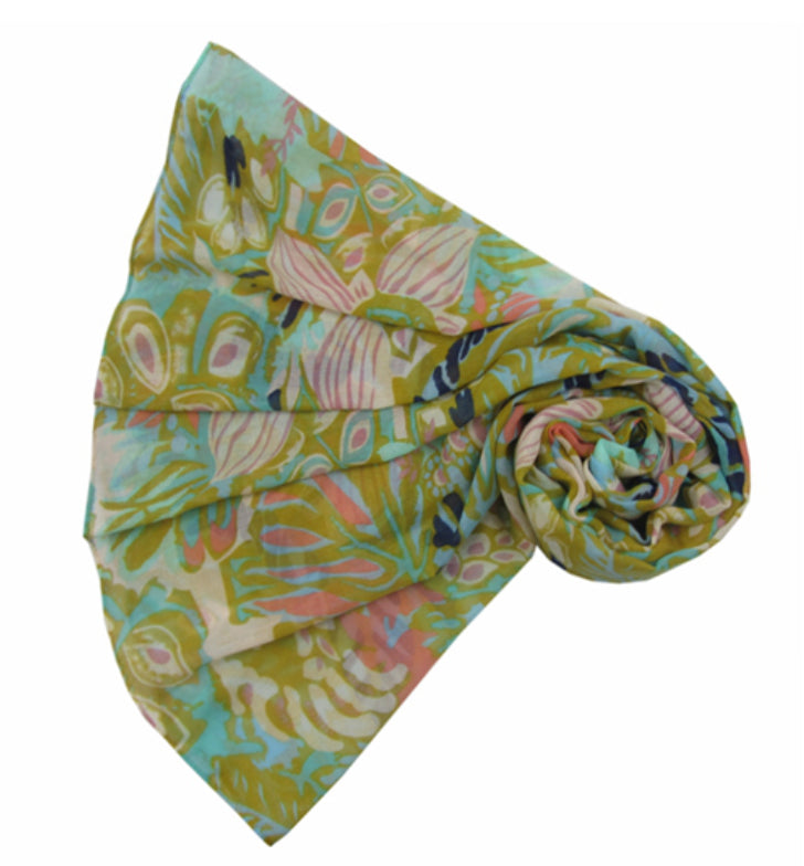 Scarf - Neon Big Flowers