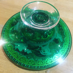 Antique Green Glass Footed Mini Tazza