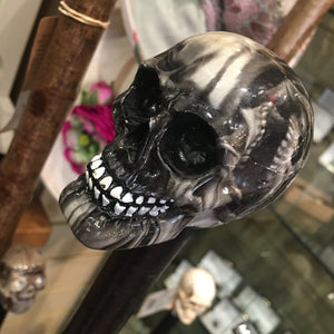 Black Wood Walking Stick with Skull Top