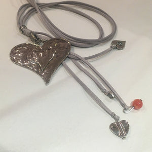 Large Heart Pendant on grey suede chord