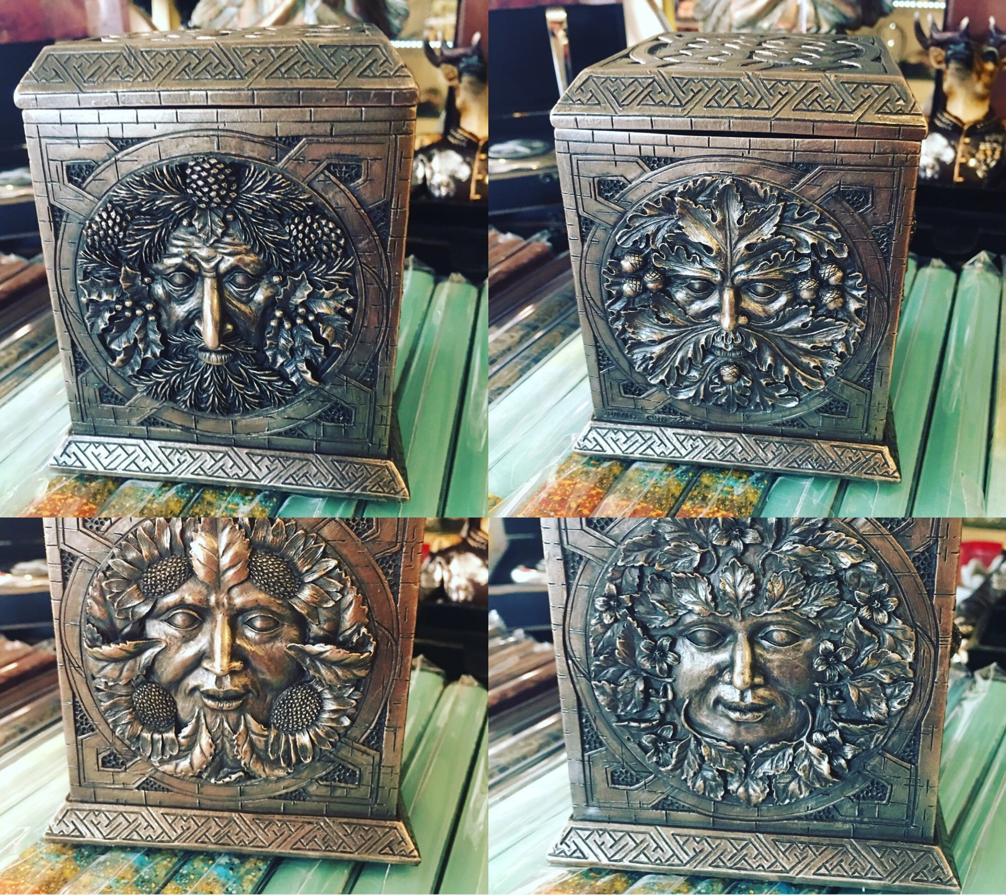 Bronze Resin Four Seasons Storage Box