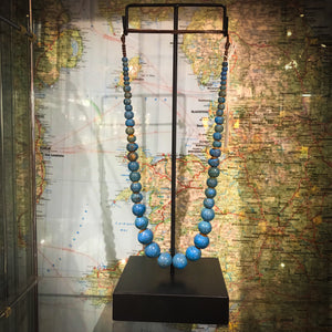Cyan ceramic beaded necklace