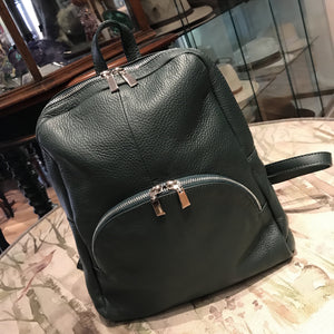 Green Leather Rucksack Bag