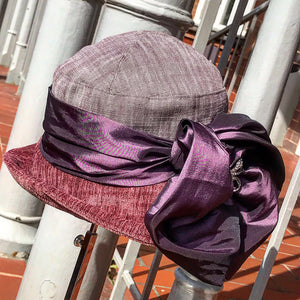 Vintage Tapestry Cloche hat - Mauve silk