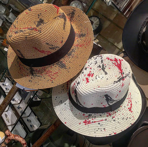 Soft woven fedora hat with splash paint design