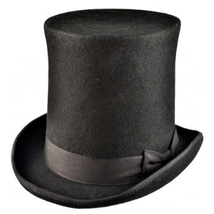 Tall Black Wool Felt Top Hat