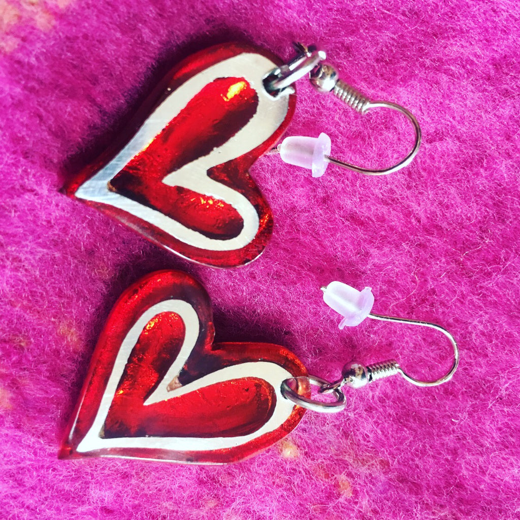 Red Linear Heart Drop Earrings