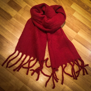 Cosy Thick Plain Fringed Scarf