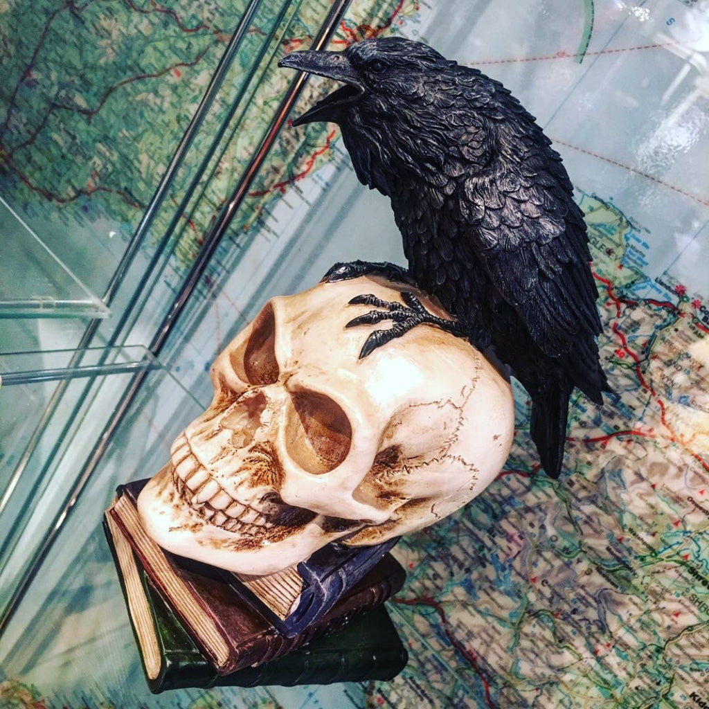 Figureen of Poe's Raven on Skull and Books