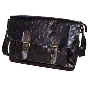 Large Leather Twin Buckle Flap Over Bag