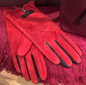 Red Suede Gloves with Navy Bow Detail