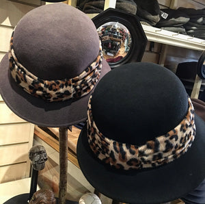 Wool Cloche Hat with Animal Print Band
