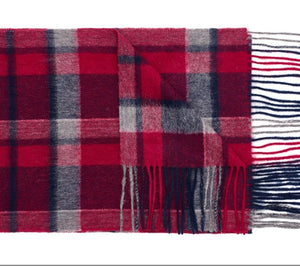 Wool Scarf - Berry Check