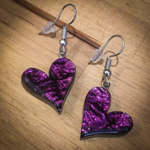 Purple Aztec Heart Drop Earrings