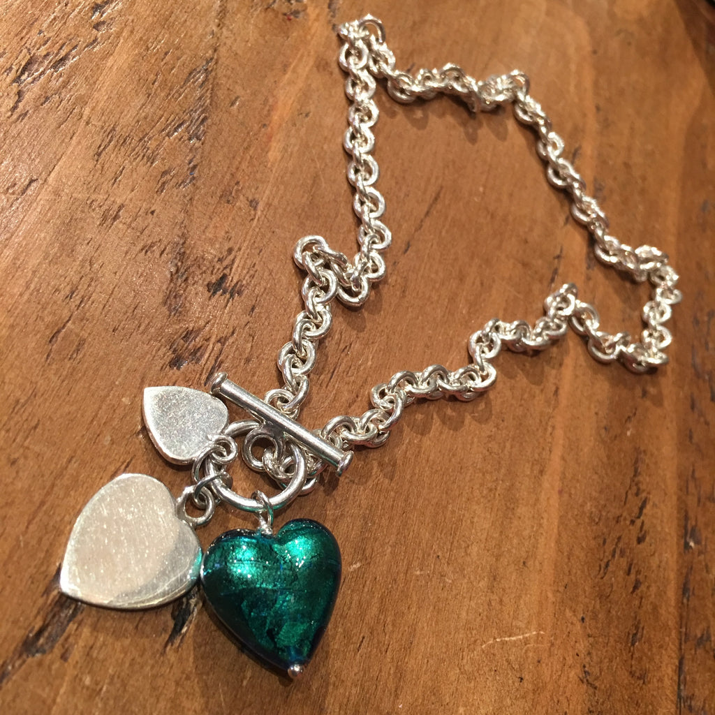 Silver chain necklace with T Bar and green Murano heart