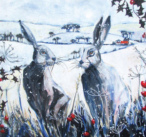 Hares and Holly Card