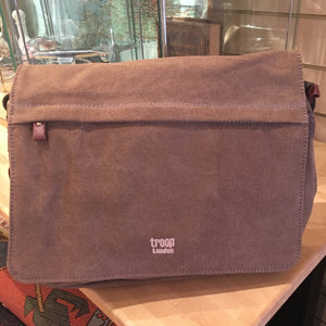 Canvas messenger bag brown velcro