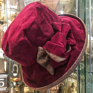 Gina Suedette Waterproof Hat with Bow/Tweed