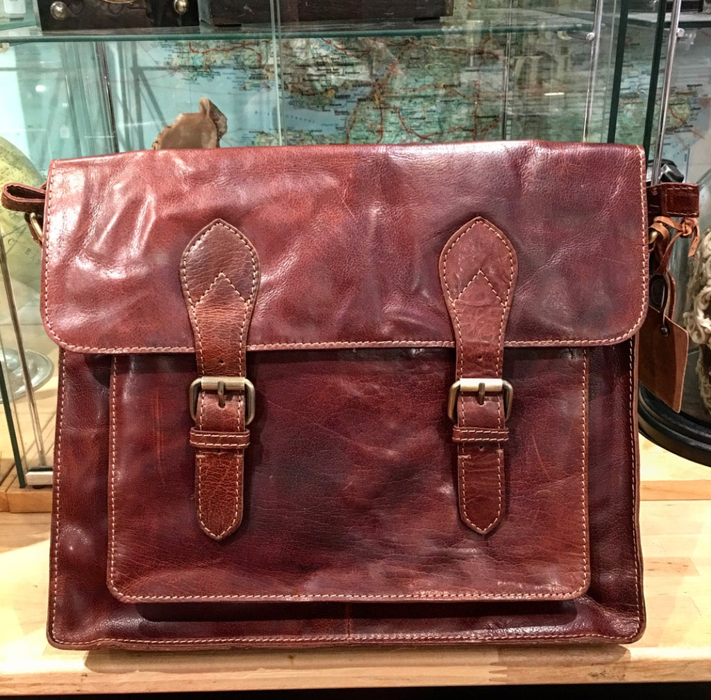 Large Leather Twin Buckle Messenger Bag