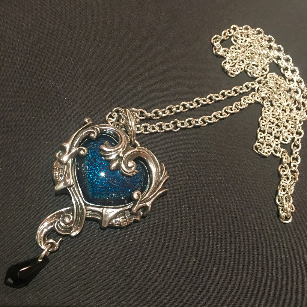 Pewter Set Blue Heart Pendant Necklace