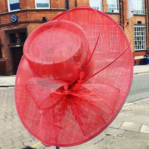 Sinamay Large Hat with Large Bow and Feather Flower