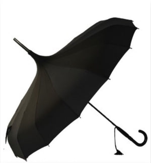 Umbrella - Black Pagoda Ribbed