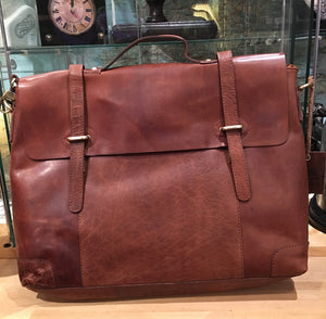 Large Leather Twin Strap Satchel