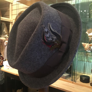 Crushable Mix Grey D-Crown Pork Pie Hat