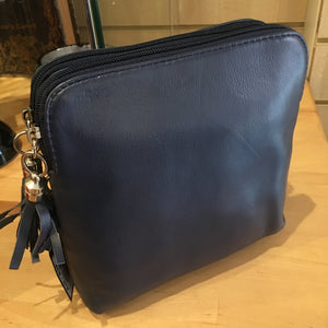 Valentino double zip cross body bag - Navy