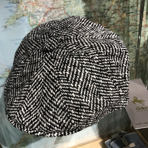 Wool Herringbone Baker Boy Cap - M
