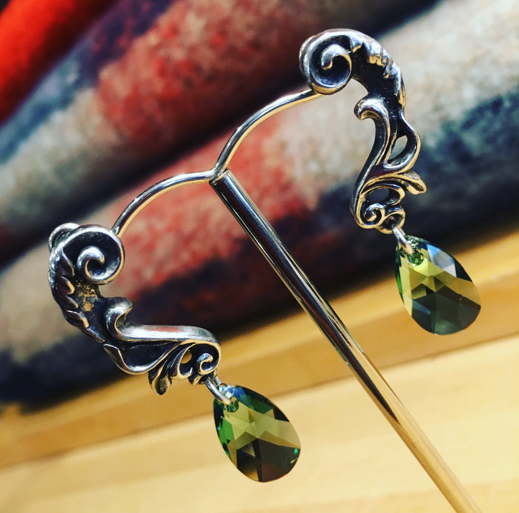 Pewter Vintage Style Green Drop Earrings